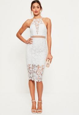 Biała dwuczęściowa koronkowa sukienka midi na ramiączkach