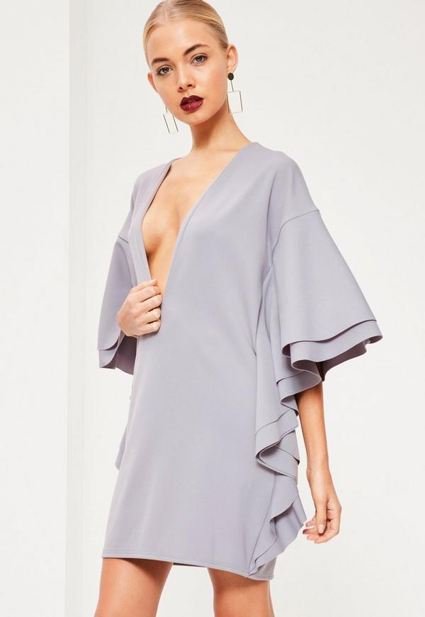 Grey Scuba Plunge Frill Shift Dress