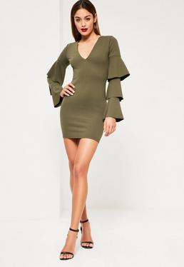 Khaki Crepe Plunge Frill Sleeve Bodycon Dress