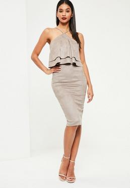 Grey Faux Suede Frill Midi Dress