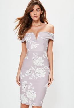 Szara dopasowana sukienka bardot w kwieciste wzory