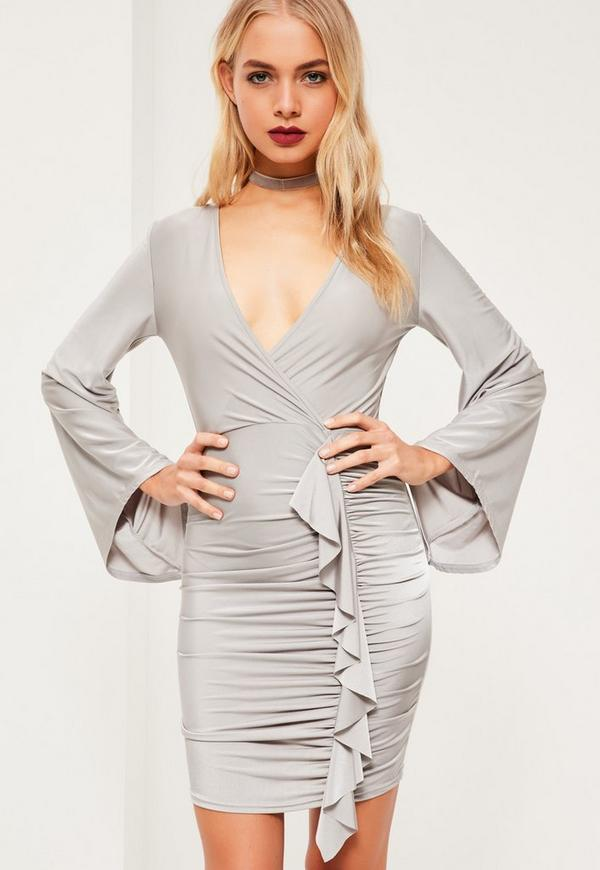 Grey Slinky Wide Sleeve Frill Bodycon Dress