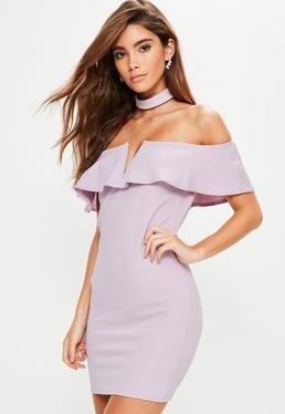 Purple Crepe Choker Frill Detail Bodycon Dress