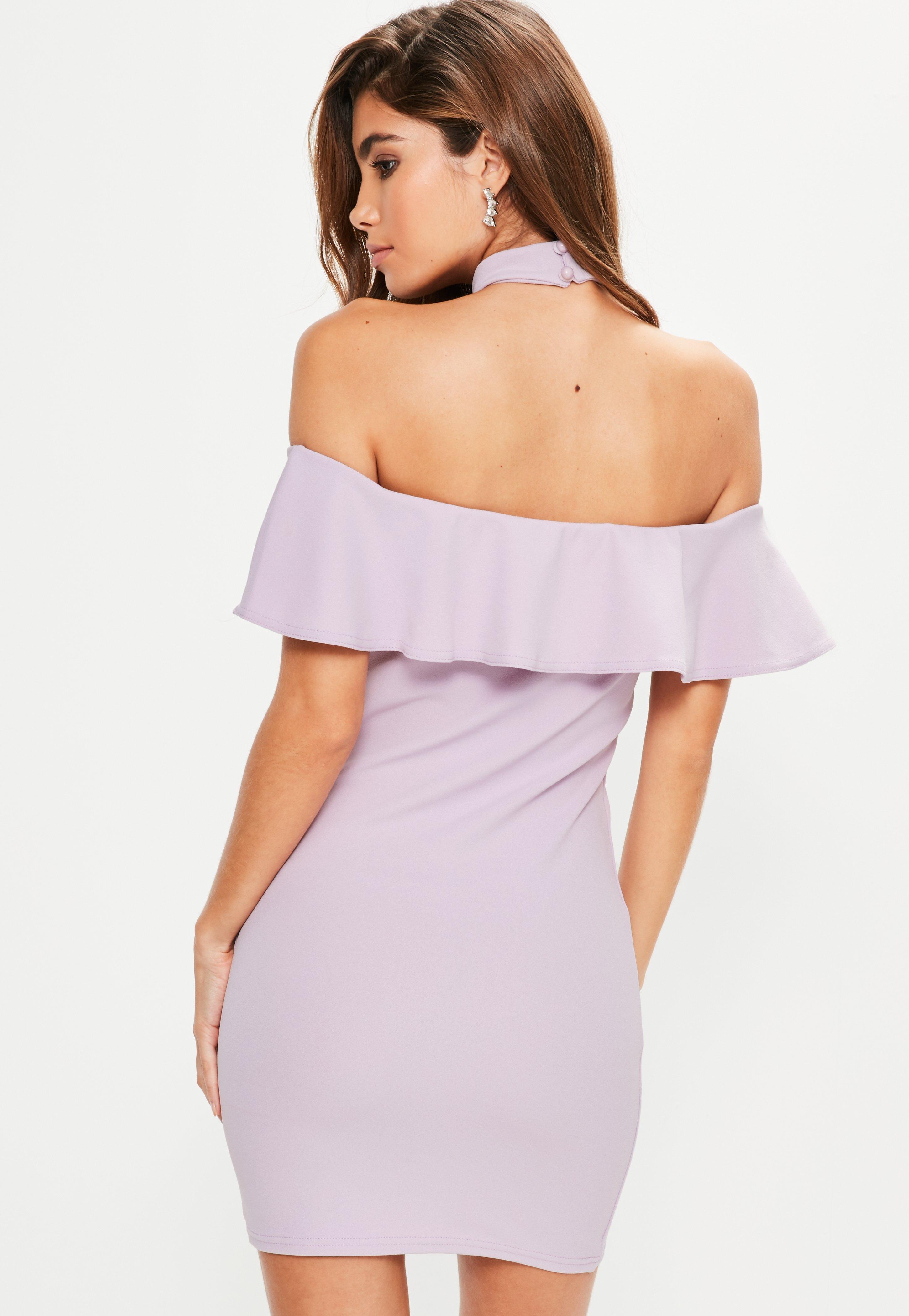 Purple Crepe Choker Frill Detail Bodycon Dress