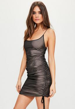Black Mesh Ruched Bodycon Dress