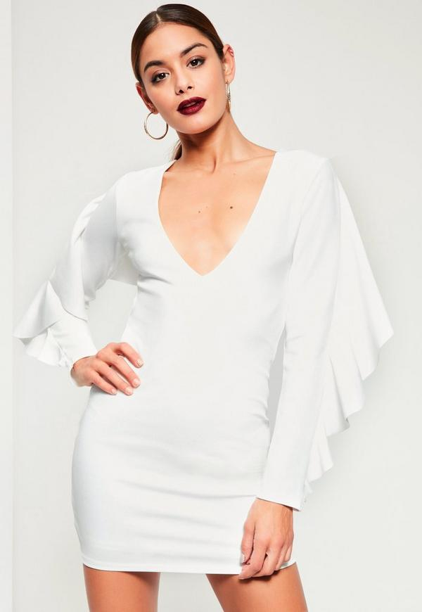 White Crepe Frill Back Detail Bodycon Dress