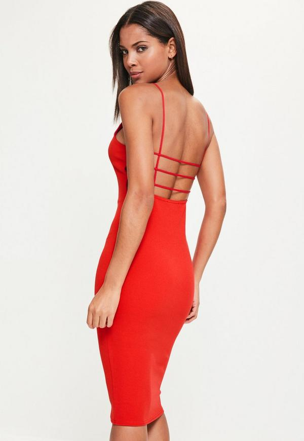 Red Crepe Square Neck Midi Dress