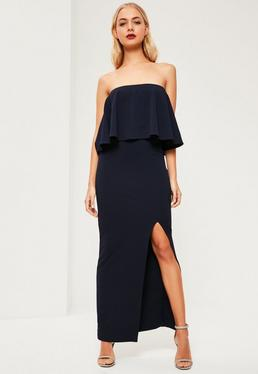 Navy Crepe Frill Side Split Maxi Dress