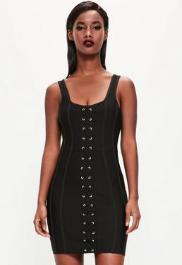 Peace + Love Czarna bandażowa sukienka z krzyżowanymi zdobieniami z przodu