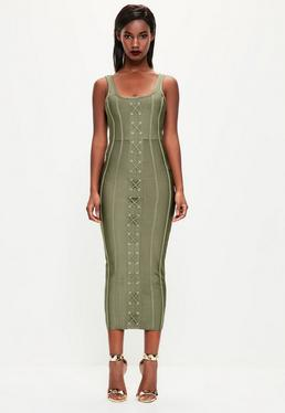 Peace + Love Khaki Strappy Criss Cross Bandage Midi Dress