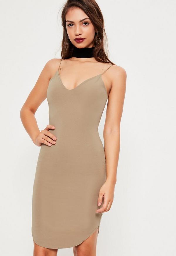 Khaki Strappy Curve hem mini dress