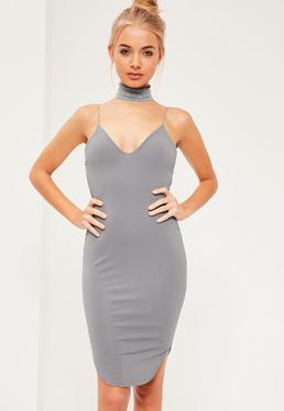 Blue Strappy Curve Hem Mini Dress