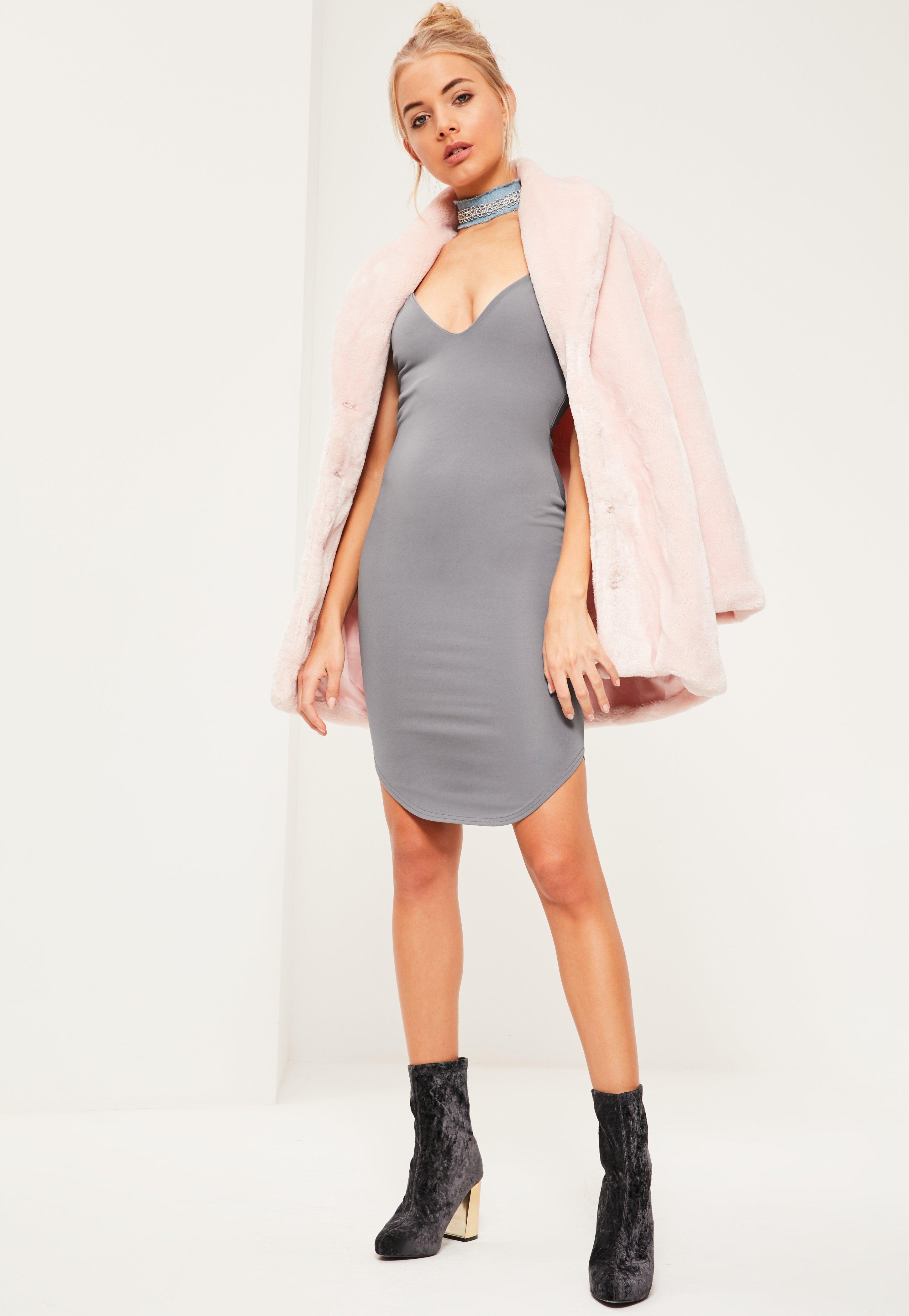 Blue Strappy Curve Hem Midi Dress