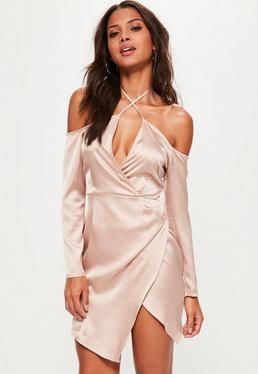 Nude Silky Bardot Shift Dress