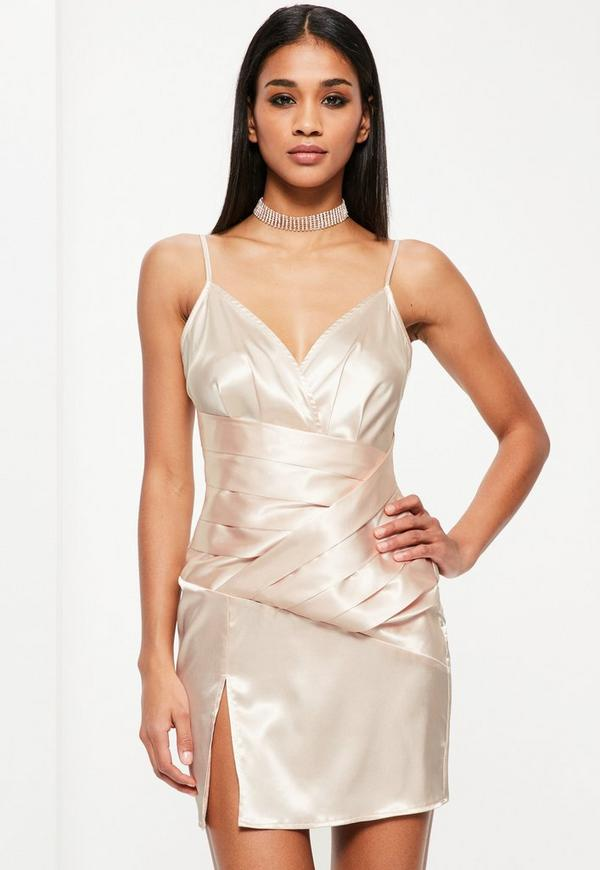 Nude Silky Panelled Strappy Shift Dress