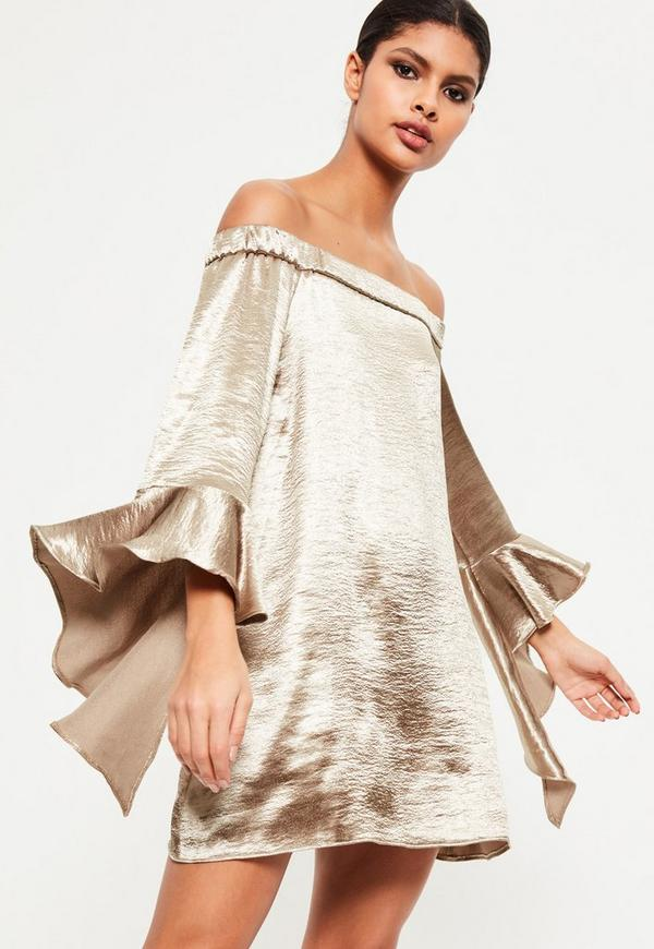Gold Silky Bardot Frill Sleeve Shift Dress