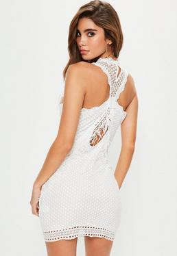 White Lace Fringe Detail Mini Dress