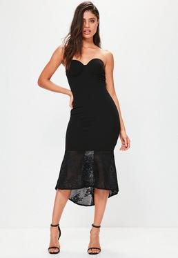 Black Crepe Sweetheart Neck Lace Fishtail Midi Dress
