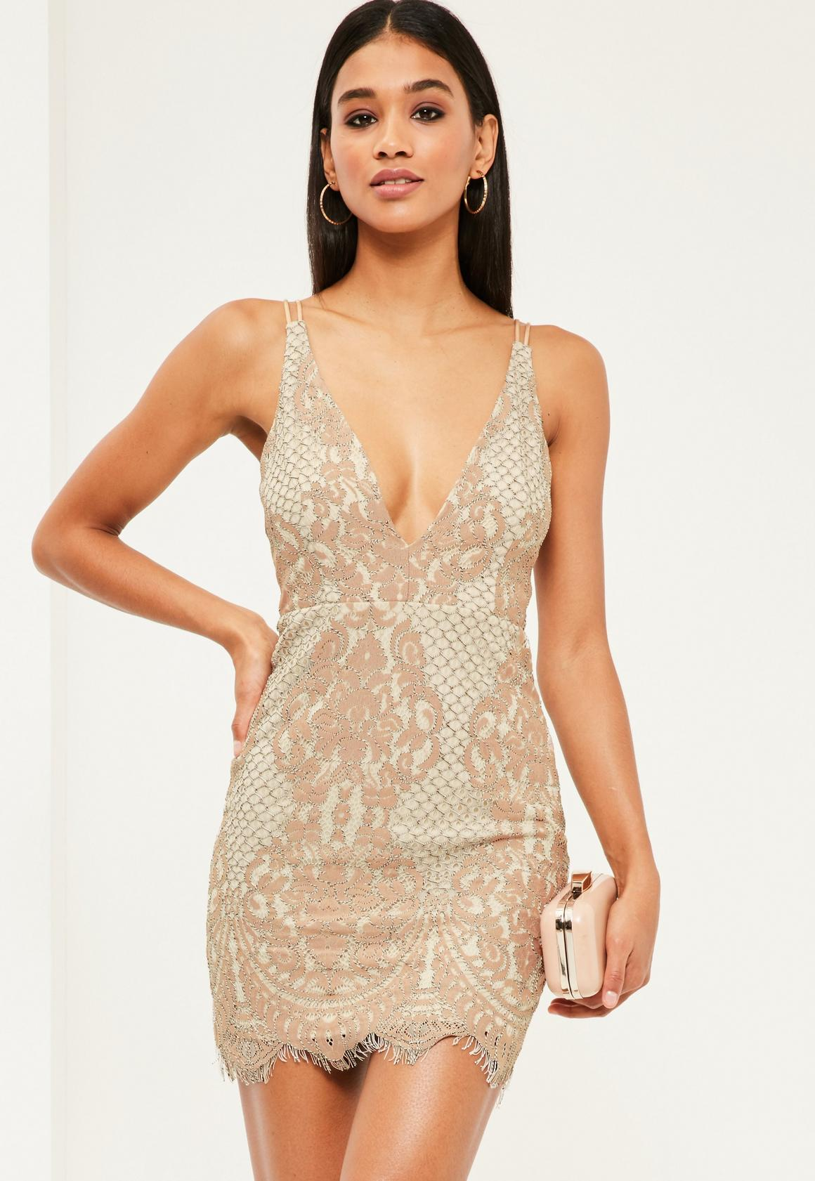 Pink Lace Plunge Strappy Bodycon Dress | Missguided
