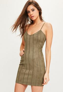 Khaki Faux Suede Stitch Detail Bodycon Dress