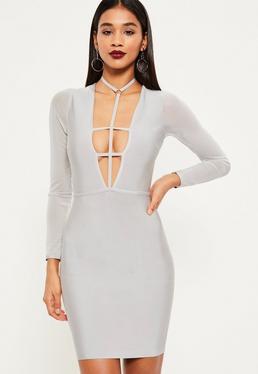 Szara bandażowa dopasowana sukienka z paskami na dekolcie