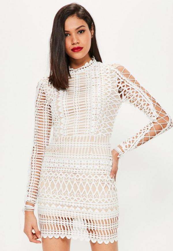 White Lace High Neck Lace Up Sleeve Bodycon Dress