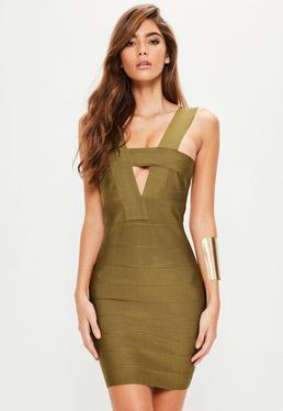 Green Bandage Cut Out Bodycon Dress
