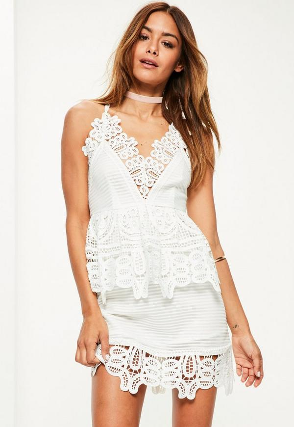 White Lace Plunge Double Layer Skater Dress