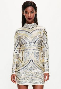 Peace + Love White High Neck Embellished Bodycon Dress