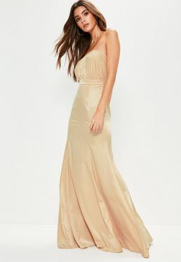 Nude Crepe Ruched Bandeau Maxi Dress