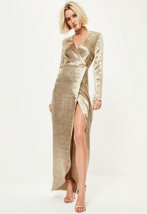 Gold Metallic Long Sleeve Plunge Wrap Maxi Dress