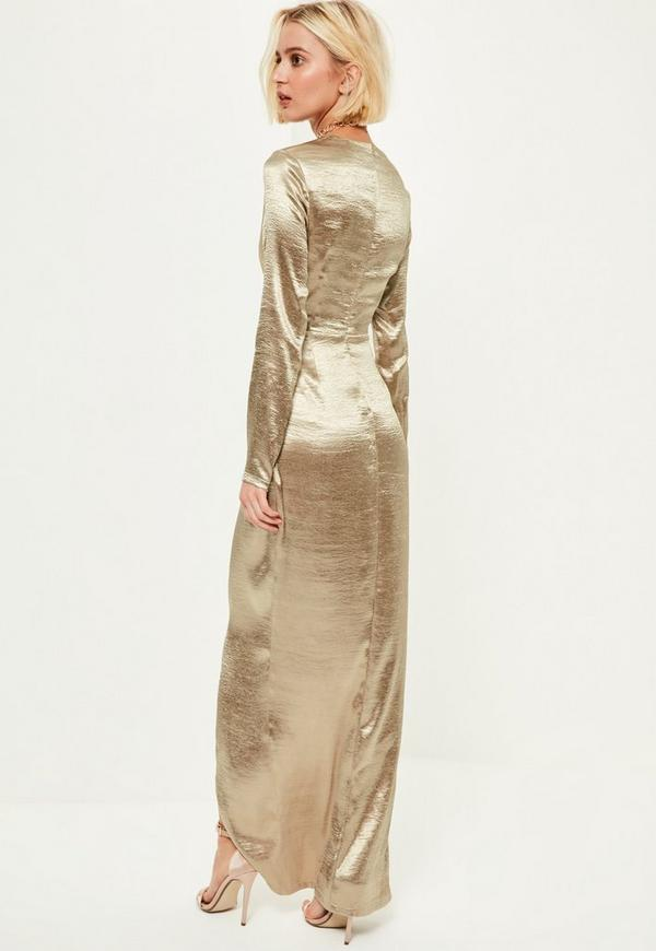 Gold Metallic Long Sleeve Plunge Wrap Maxi Dress | Missguided