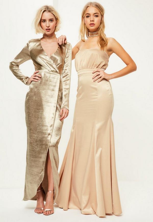 Shoptagr | Gold Metallic Long Sleeve Plunge Wrap Maxi Dress by ...