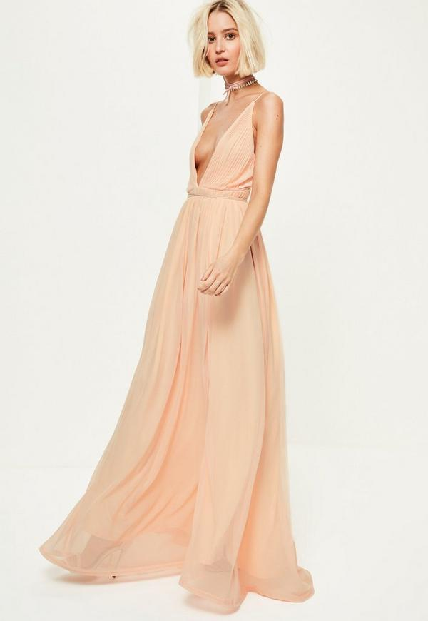 Nude Plunge Pleated Maxi Dress | Missguided