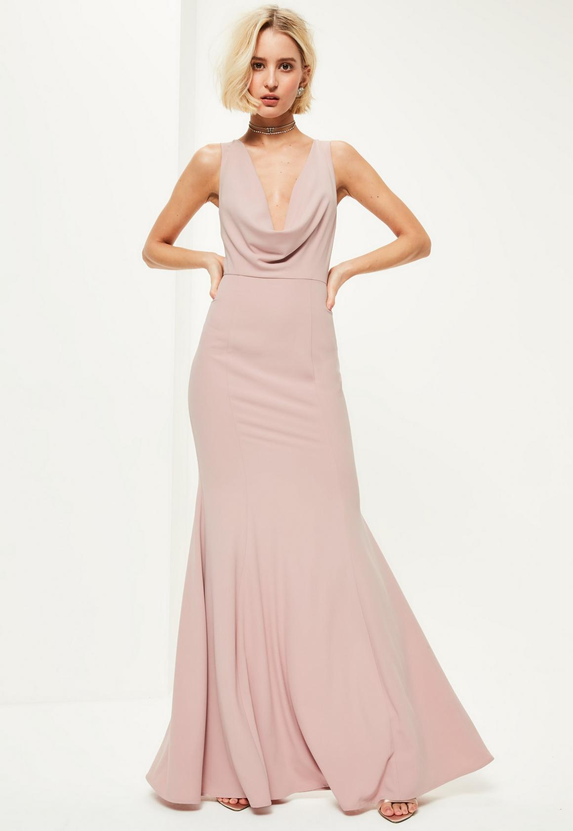 Cowl neck maxi dress uk