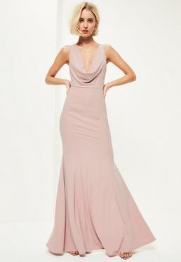 Pink Crepe Front Cowl Maxi Dress
