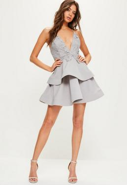 Grey Lace and Crepe Strappy Plunge Skater Dress