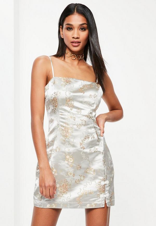 Cream Silky Brocade Square Neck Bodycon Dress
