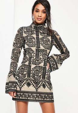 Black Lace High Neck Frill Sleeve Shift Dress