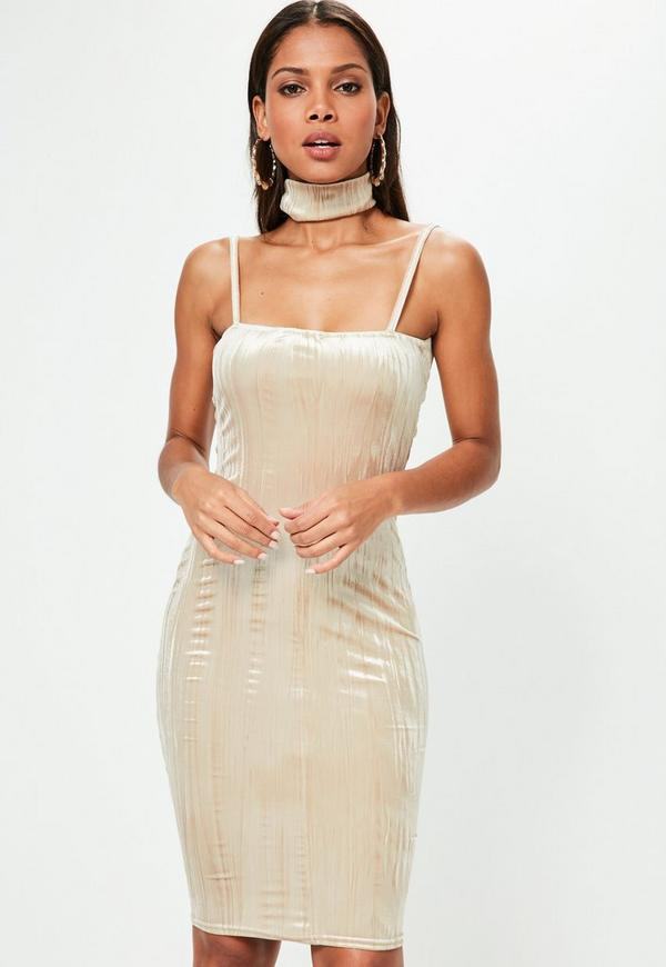Nude Pleated Velvet Midi Dress