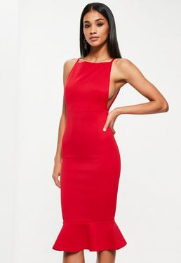 Red Scuba Square Neck Frill Hem Midi Dress
