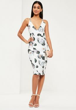 White Floral Strappy Midi Dress