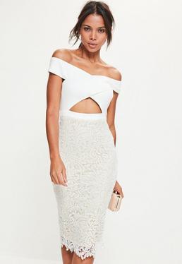 White Crepe Bardot Lace Midi Dress