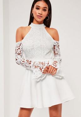 White Lace High Neck Cold Shoulder Skater Dress