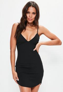 Black Strappy Plunge Bodycon Dress