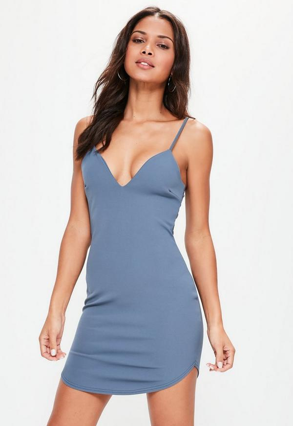 Blue Strappy Plunge Bodycon Dress