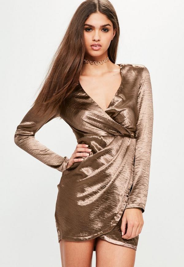 Bronze Satin Long Sleeve Wrap Dress