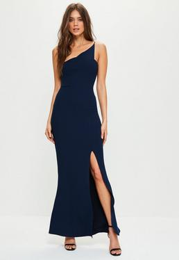 Navy Crepe One Shoulder Maxi Dress