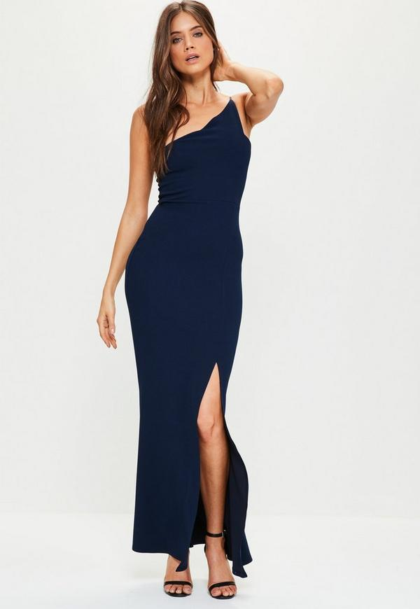 Navy Crepe One Shoulder Maxi Dress | Missguided