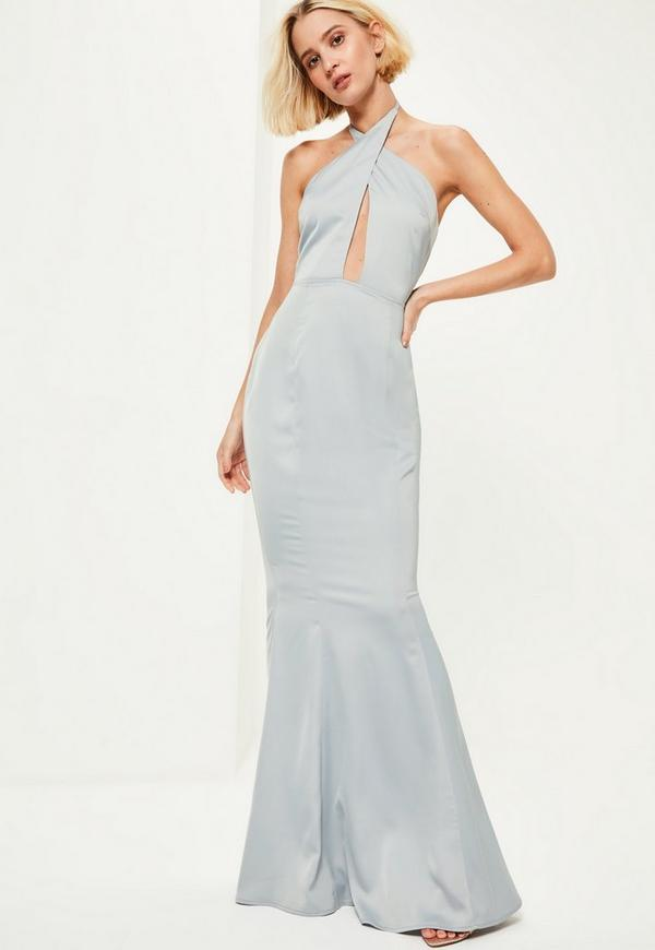 Blue Plunge Halterneck Fishtail Maxi Dress